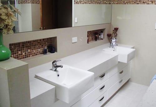 White Countertops and Tile Backsplash